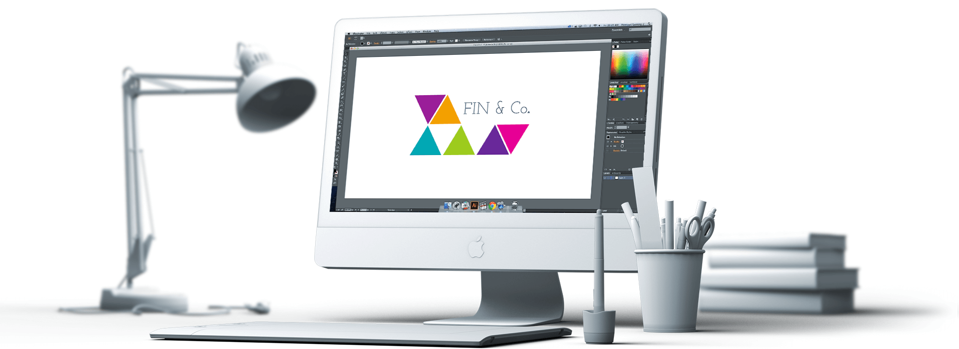 Fin & Co logo on iMac screen