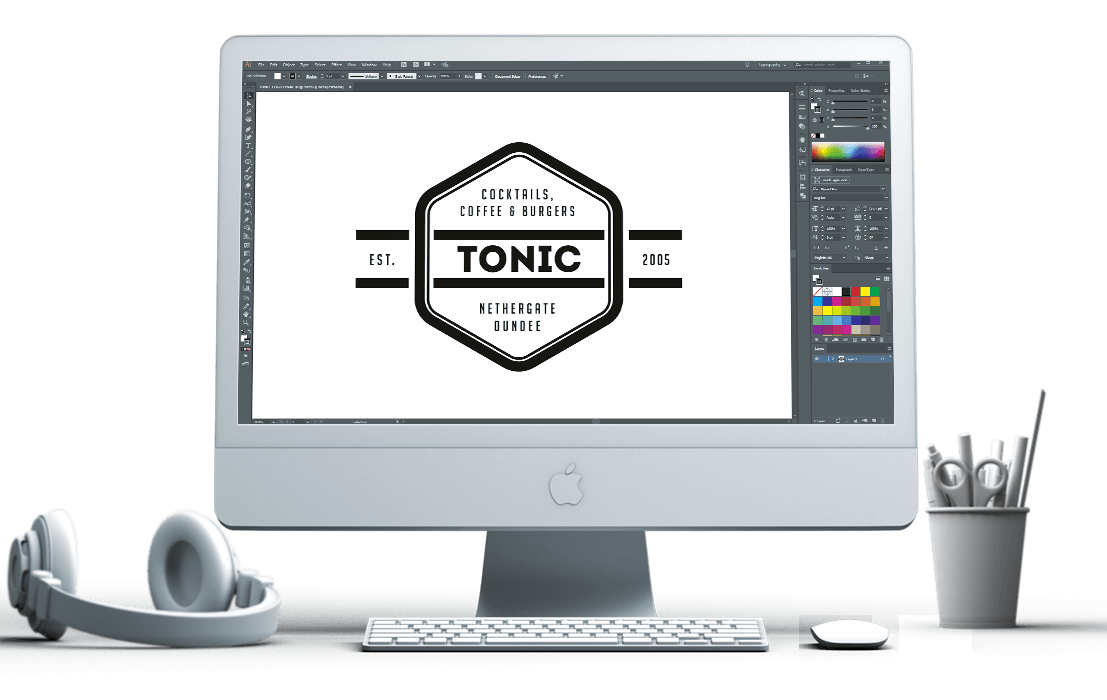 Tonic Dundee logo on iMac screen