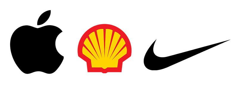 Apple logo, Shell logo, Nike logo