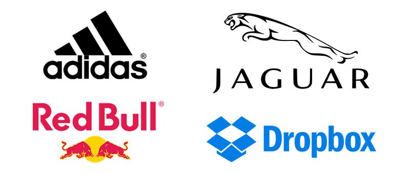Adidas logo, Red Bull logo, Jaguar logo, Dropbox logo