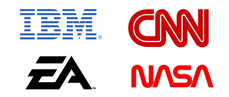 IBM logo, EA logo, CNN logo, NASA logo
