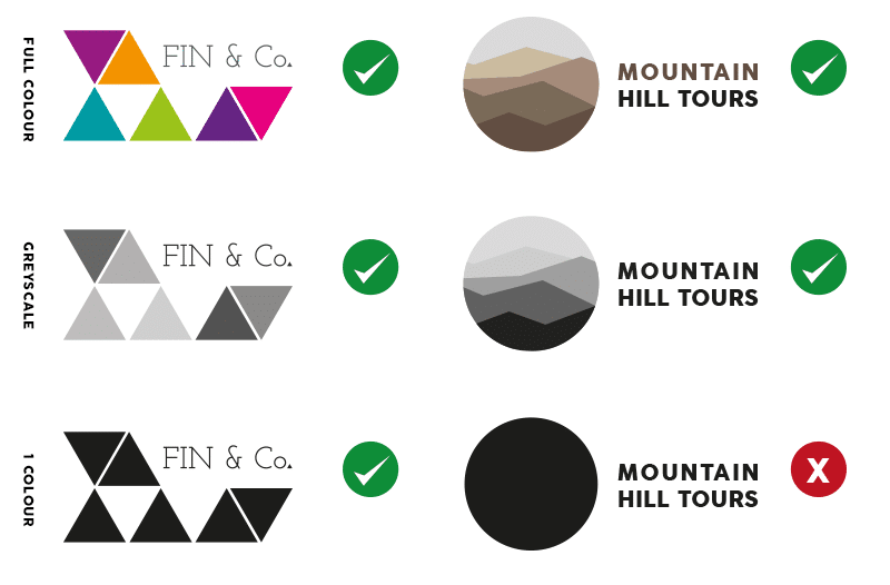 Examples of logo using full colour and 1 colour