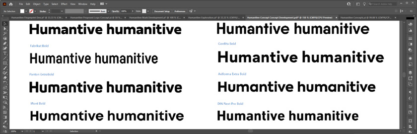 Humanitive typography selection