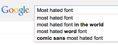Google search image for Comic Sans font