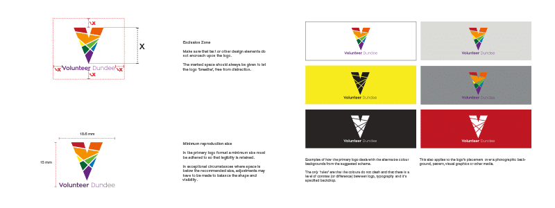 Example pages from a logo guidelines document