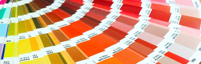 Pantone colour swatches