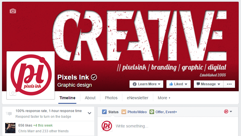 Pixels Ink's Facebook cover image and timeline view